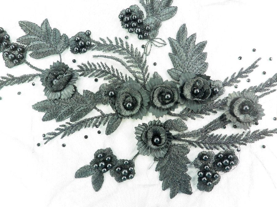 "Embroidered Lace Applique Floral design accented w/  Black Sequins and Black Beads 12"" GB937-bk"
