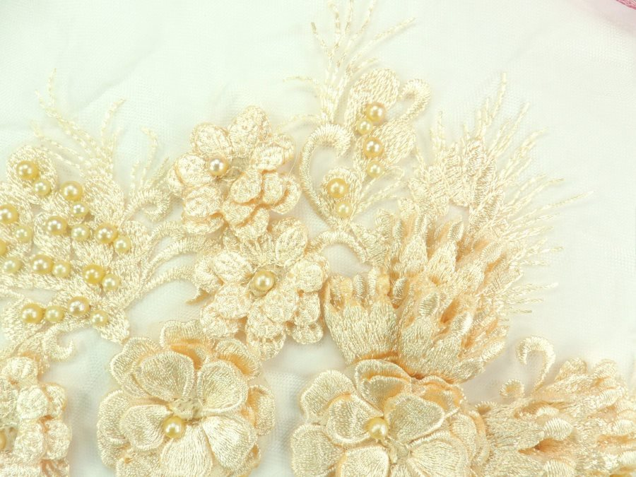 "Embroidered Peach Lace Applique Floral design accented w/ Peach Beads 13"" GB938-pch"