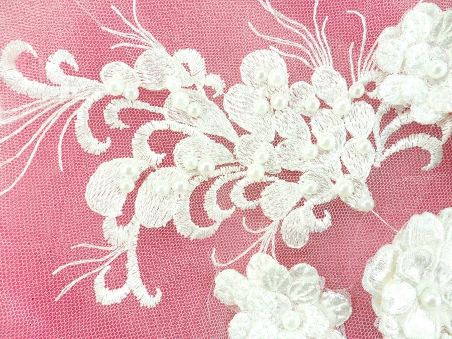 """Embroidered Lace Applique Floral design accented w/ White Beads 13"""" GB938-wh"""