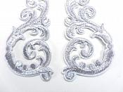 "Embroidered Appliques Silver Metallic Iron On Mirror Pairs 3.5"" GB950X"