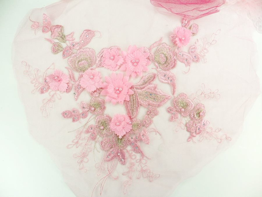 """Embroidered 3D Applique Pink Floral Pearl Patch Rhinestone Accented 13"""" GB939-pk"""