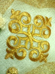 "Embroidered Applique Gold Metallic Iron On Dance Patch 4.5"" (GB94-gl)"