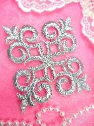 "Silver Metallic Iron On Designer Embroidered Applique 4"" MS1202"