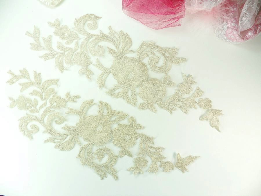 GB940 Embroidered Appliques Champagne Metallic Mirror Pair Designer Scroll Motifs 15""