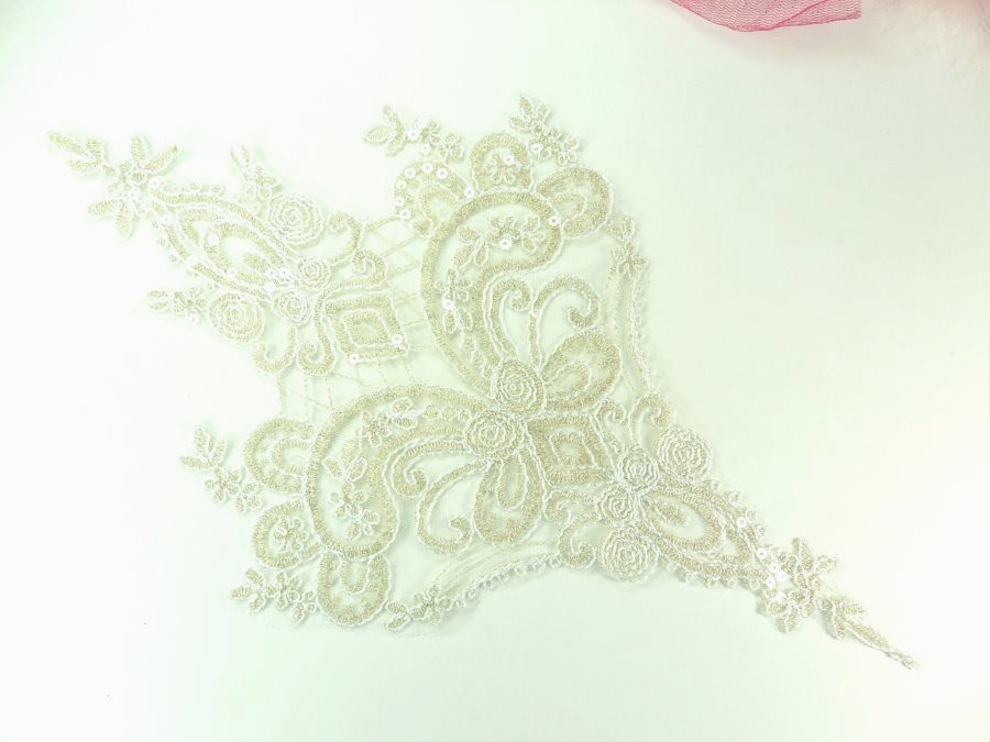"REDUCED Embroidered Applique Champagne Clear Sequin Designer Scroll Motif 14.5"" RMGB941-chp"