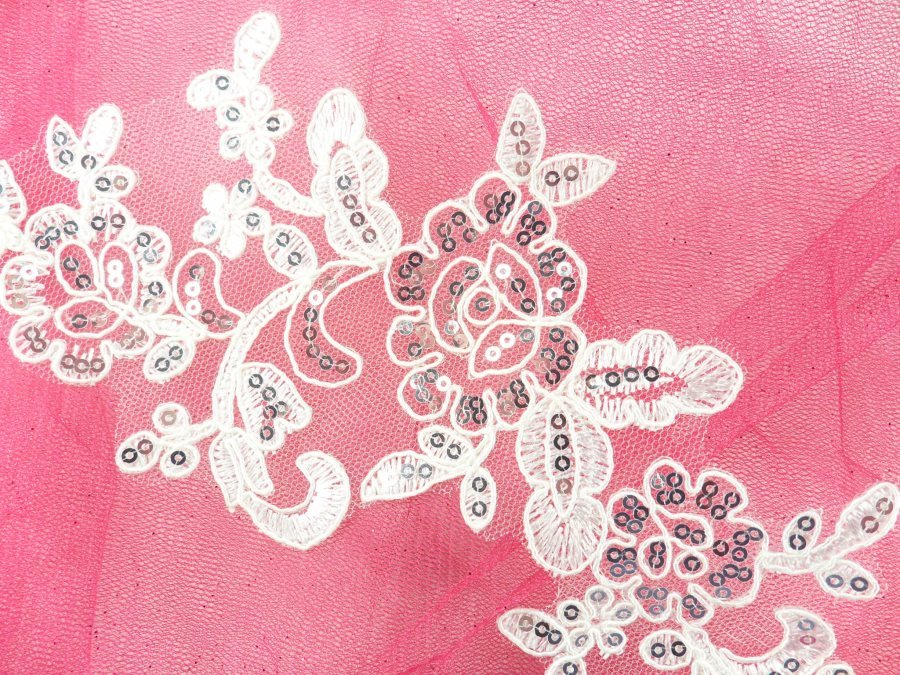 """Sequined Lace Embroidered Applique White Silver Floral Ballet Motif 10.25"""" GB942"""