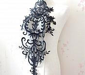 "Large Applique Black Venise Lace Bodice Yoke Motif 24"" GB949"