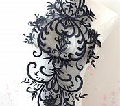 """Large Applique Black Venise Lace Bodice Yoke Motif 24"""" GB949"""