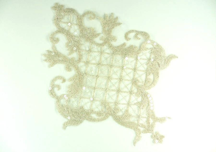 "Embroidered Applique Champagne Clear Sequin Designer Scroll Motif 10.5"" GB943-chp"
