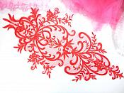 "Large Applique Red Venise Lace Bodice Yoke Motif 24"" GB949"