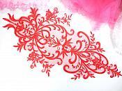 """Large Applique Red Venise Lace Bodice Yoke Motif 24"""" GB949"""