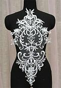 "Large Applique White Venise Lace Bodice Yoke Motif 24"" GB949"