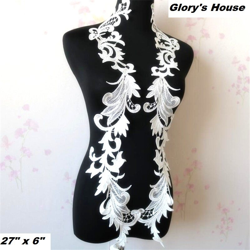 """Appliques Embroidered Lace White Floral Venice Mirror Pair Motifs 27""""  GB944X"""