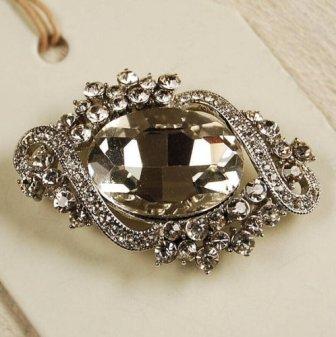 """GB95  Bridal Rhinestone Brooch Pin Vintage Silver Crystal Glass 2.25"""""""