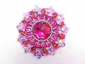 "Fuchsia Beaded Jewel Applique Sewing Clothing Patch 2.5"" GB953"