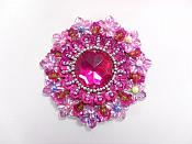 """Fuchsia Beaded Jewel Applique Sewing Clothing Patch 2.5"""" GB953"""