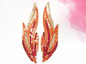 "Large Red Flames of Fire Appliques Mirror Pair Sequin Beaded 9"" GB956X"