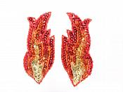 "Small Red Flames of Fire Appliques Mirror Pair Sequin Beaded 4"" GB957X"