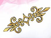 "Embroidered Applique Gold Black Metallic Iron On Clothing Patch 6.25"" GB959"