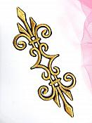 """Embroidered Applique Gold Black Metallic Iron On Clothing Patch 6.25"""" GB959"""
