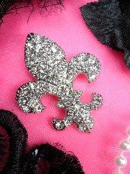"GB96 Fleur De Lis Rhinestone Brooch Pin Vintage Silver Crystal Glass 2.25"""