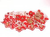 "3D Embroidered Applique Red Gold Floral Sequin Beaded Patch 11"" GB961"