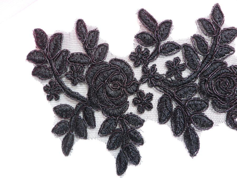 """Floral Venise Lace Applique Black Venice Flower 8.75"""" GB964"""