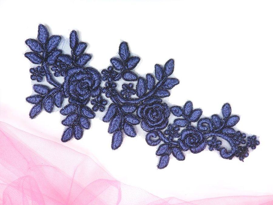 """Floral Venise Lace Applique Navy Venice Flower 9"""" GB964"""
