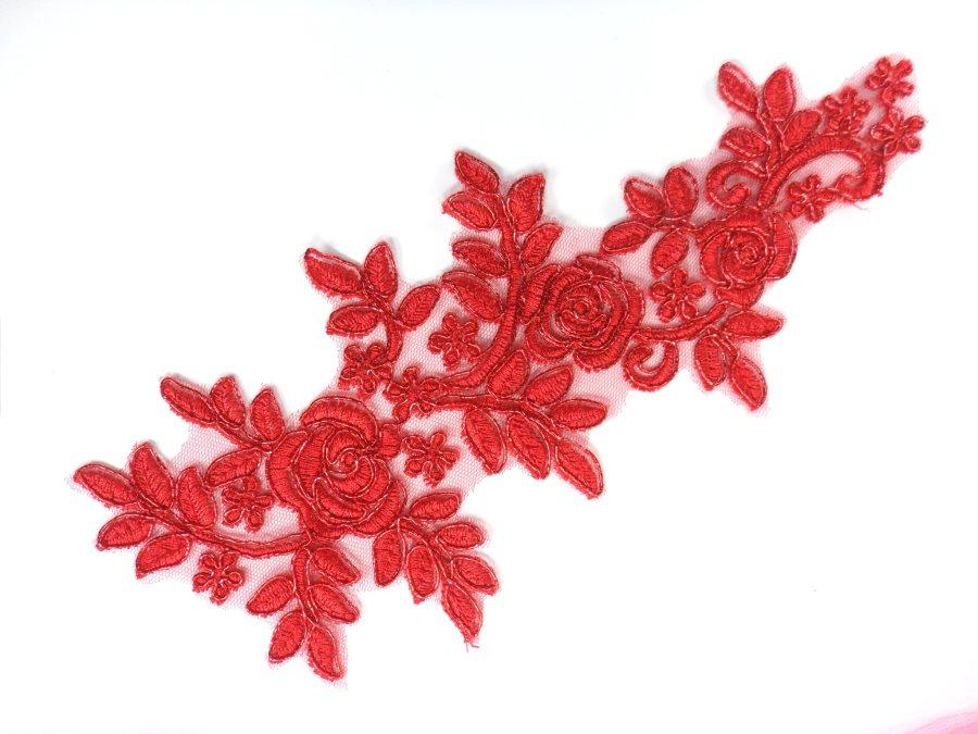"""Floral Venise Lace Applique Red Venice Flower 8.75"""" GB964"""