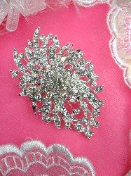 """GB97 Bridal Rhinestone Brooch Pin Vintage Silver Crystal Glass 2.5"""""""