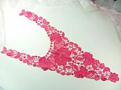 Bodice Applique Embroidered Lace Shiny Fuchsia Thread 21 inches GB970