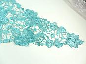 Bodice Applique Embroidered Lace Shiny Teal Thread 21 inches GB970