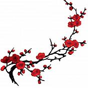 Red Applique Floral Branch Vine Iron On Embroidered Patch 16 inches GB971