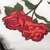 Red Rose Applique Embroidered Floral Design Iron on Patch 8 inches GB979