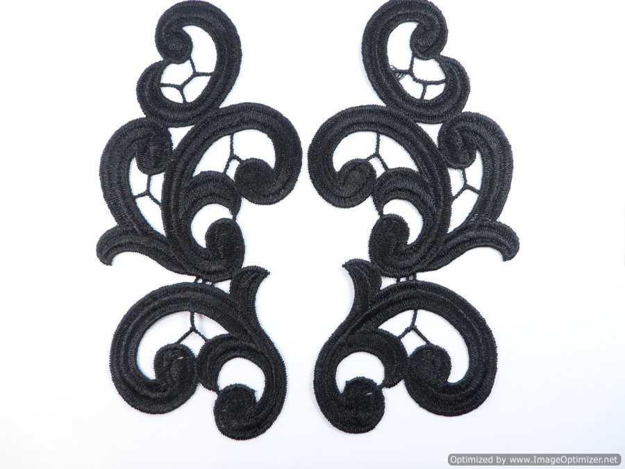 "Embroidered Appliques Black Dance Costume Sewing Craft Supplies Mirror Pair Scroll 7"" GB980X"