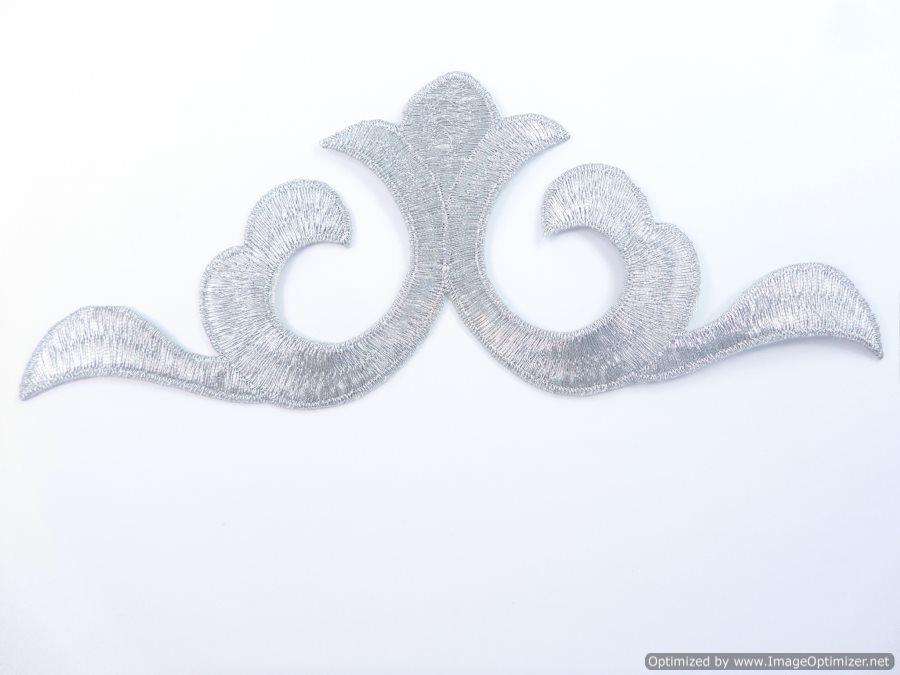 Applique Embroidered Shiny Metallic Silver Thread 7.5 inches GB982