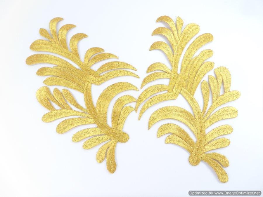 """GB983x Embroidered Appliques Gold Metallic Scroll Mirror Pair Iron On Patch 8.25"""""""