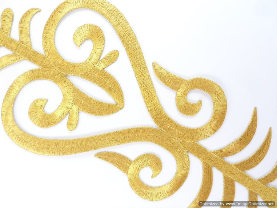 Applique Embroidered Shiny Metallic Gold Thread 8.75 inches GB985
