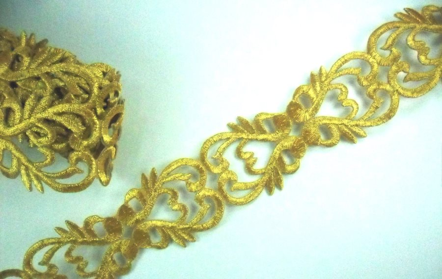Embroidered Trim Gold Metallic Designer Scroll Sewing Iron GB987