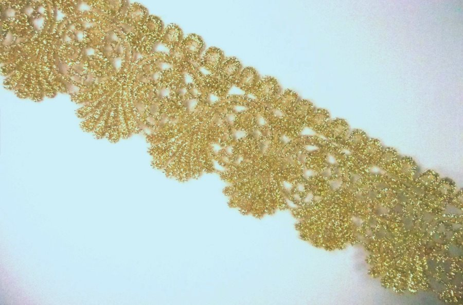 GB992 Metallic Gold Venice Lace Victorian Sewing Trim 2""