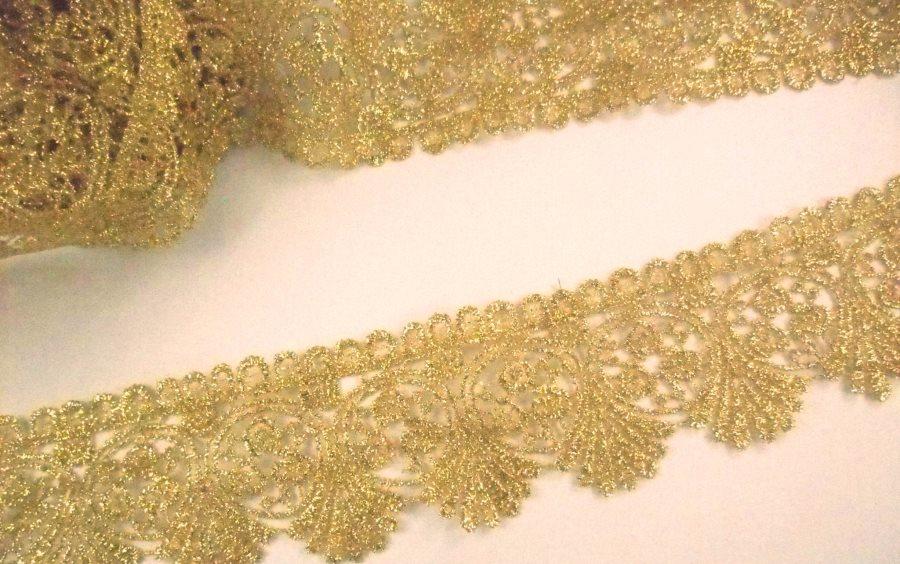 "GB992 Metallic Gold Venice Lace Victorian Sewing Trim 2"""