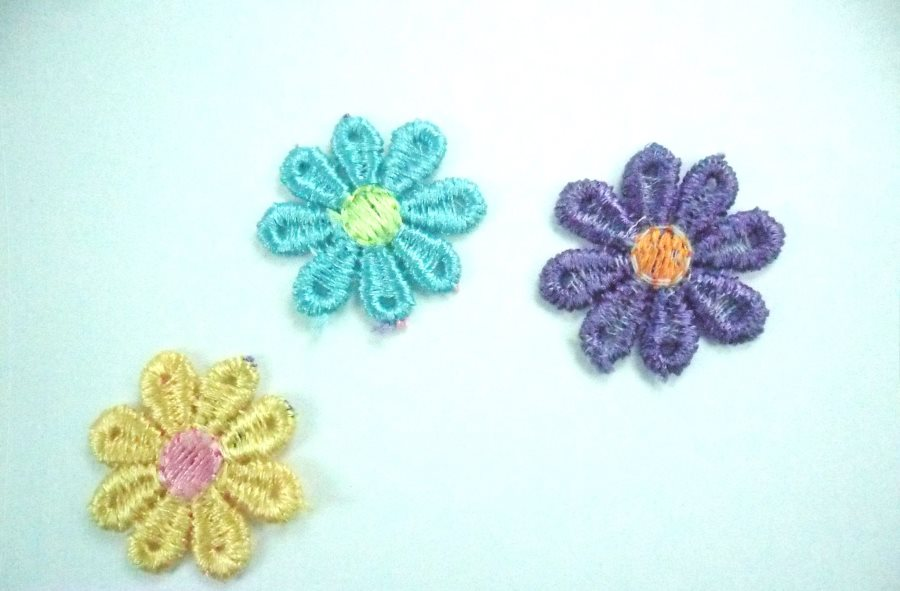"Embroidered Floral Multi Color Craft Patch (Set of 3) 1"" GB996"