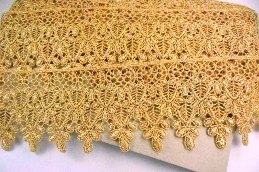 GB994 Elegant Metallic Gold Victorian Venice Lace Trim 3""