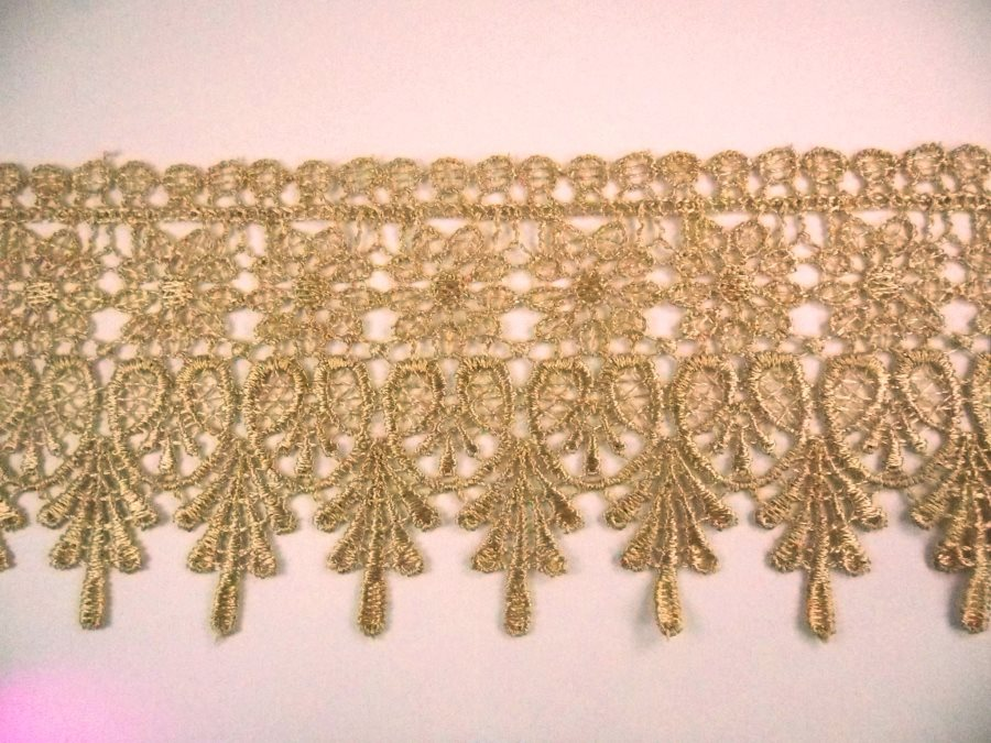 GB995 Elegant Brown Gold Victorian Venice Lace Trim  2.75""