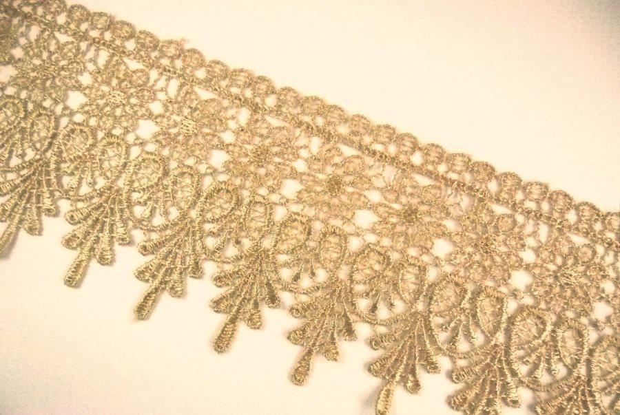 "GB995 Elegant Brown Gold Victorian Venice Lace Trim  2.75"""