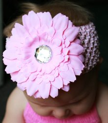 GB9 Flower with Crystal Center Crochet Headband Hairbow 5 Colors Available