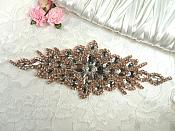 "Rose Gold Crystal Rhinestone Bridal Applique 9.5"" (GB525)"