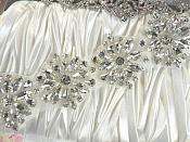 """Rhinestone Floral Applique Glass Stone Applique 10.5"""" (GB527)"""