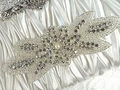 "Crystal Rhinestone Applique Silver Beaded Floral Applique White Pearl Applique 6"" (GB528)"