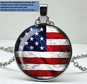 God Bless America Necklace Pendant w/ Silver Chain Patriotic USA Flag Fashion Jewelry JW179